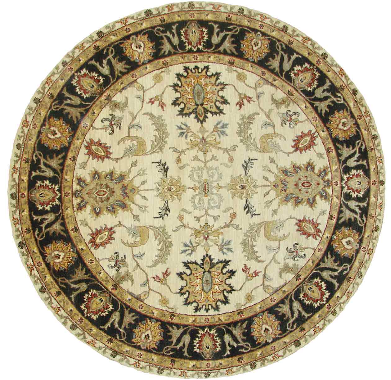 Round Rugs 18863 Sultan Ivory Beige Amp Black Charcoal